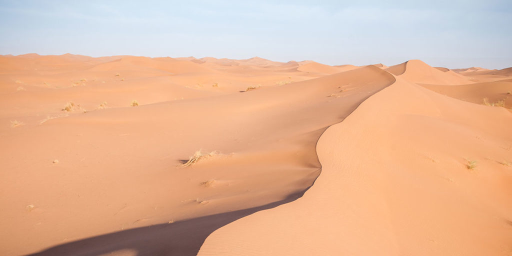 La crête des dunes dans le désert marocain