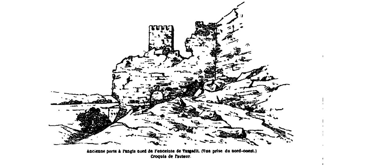 Les ruines de Tasgelt dessiné par Charles de Foucault en 1883