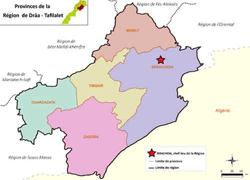 Carte des provinces de Ouarzazate et environs