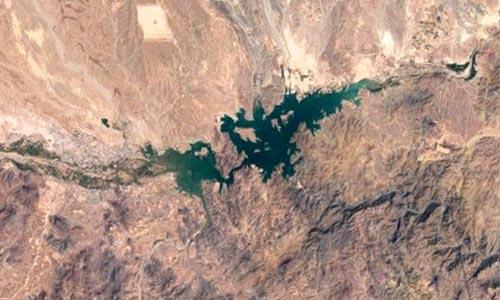 Le lac d'Ouarzazate vue du ciel