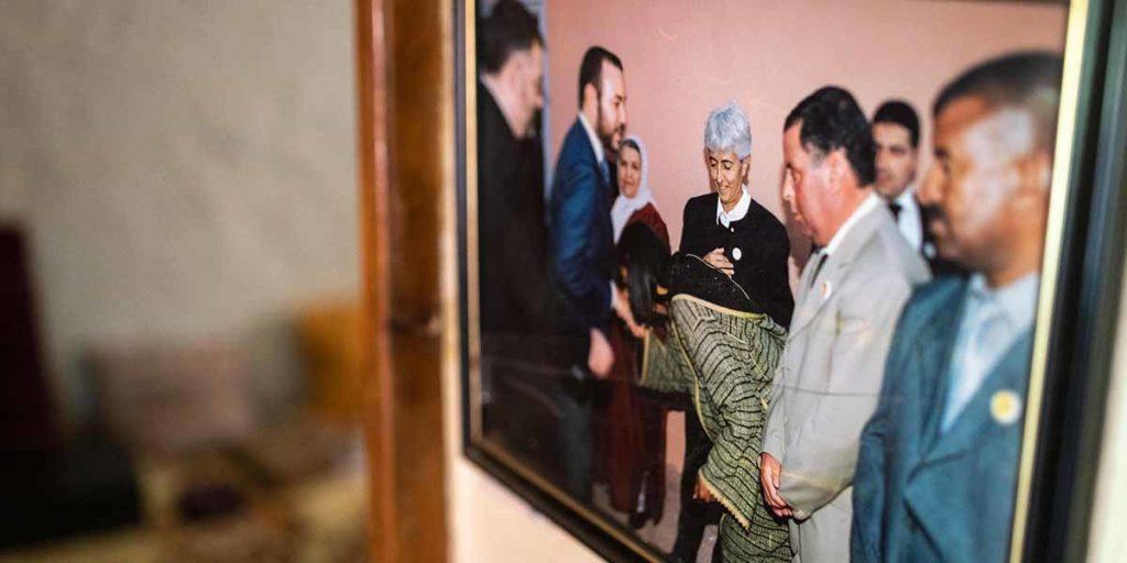 Soeur Francesca avec le Roi Mohammed VI à l'association Horizon des handicapés d'Ouarzazate