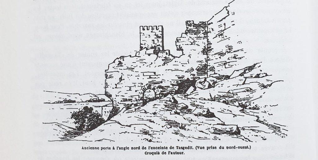Croquis des ruines de Tasgedlt par Charles de Foucauld