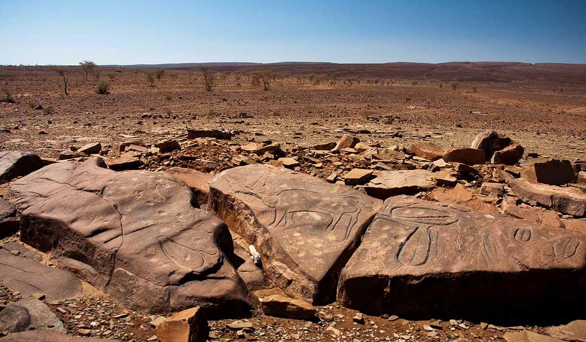 Paysages désertiques autour des peintures rupestres